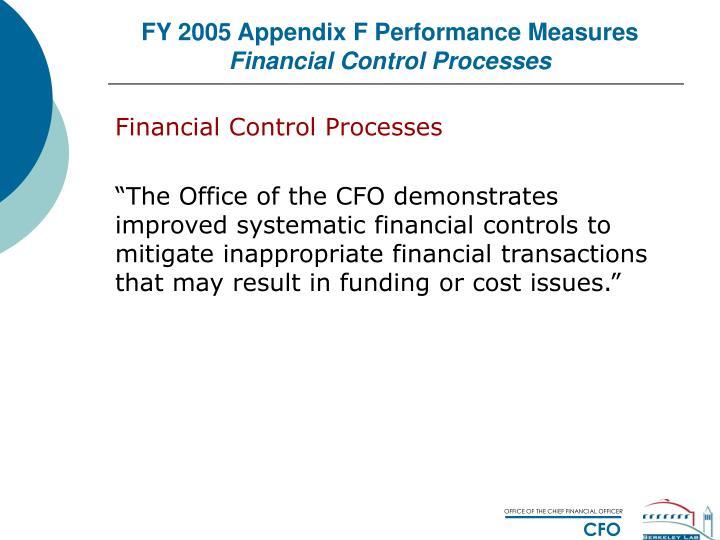 FY 2005 Appendix F Performance Measures