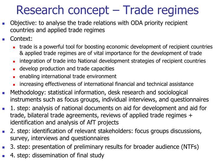 Research concept – Trade regimes