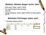 membuat dokumen dengan variasi tabel