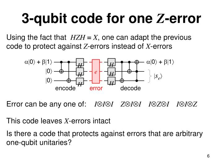 3-qubit code for one