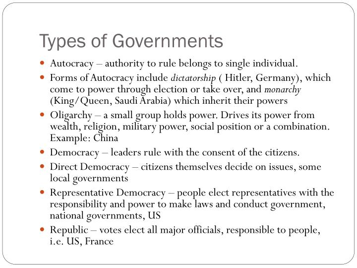Types of Governments