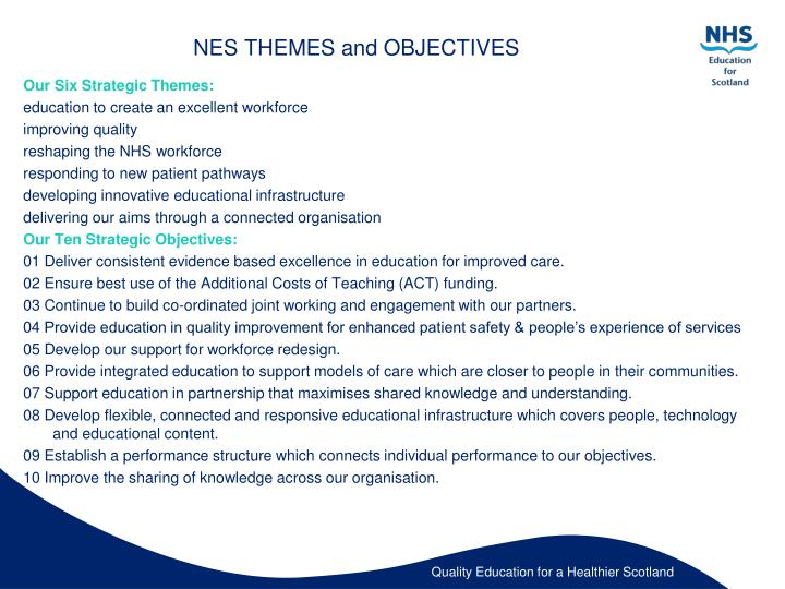 Nes themes and objectives
