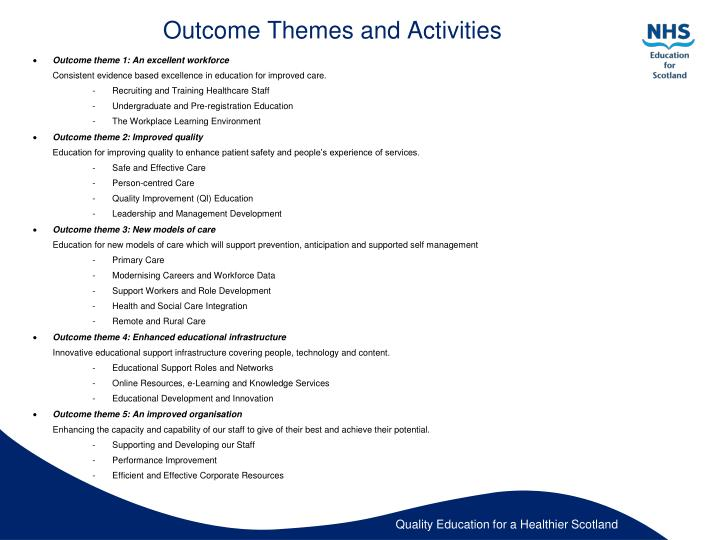 Outcome Themes and Activities