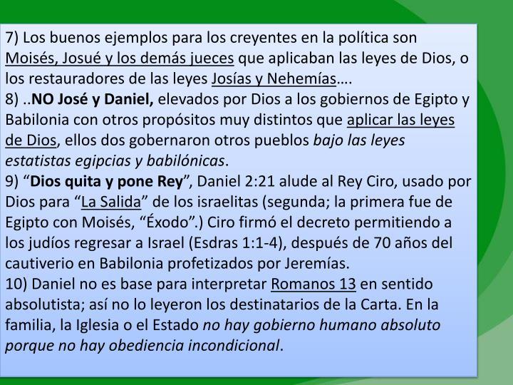 7) Los buenos ejemplos para los creyentes