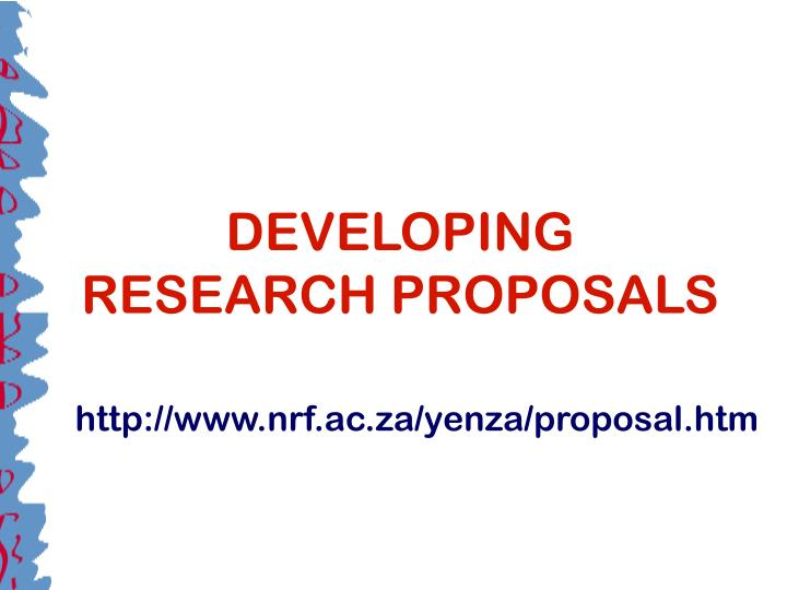developing research proposals n.