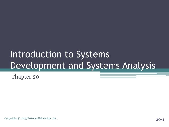 introduction to systems development and systems analysis n.