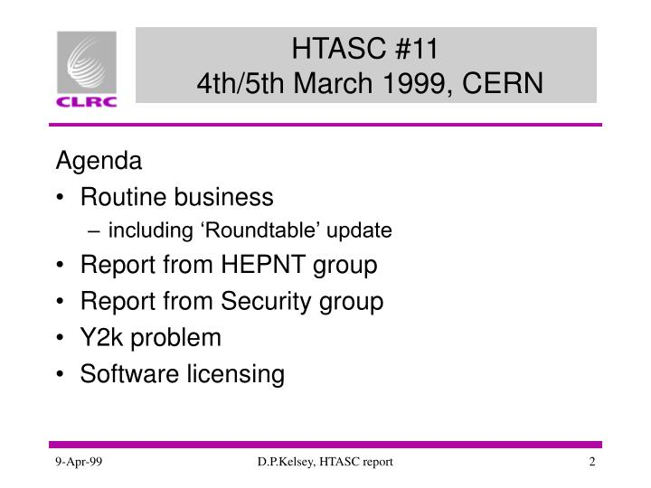 Htasc 11 4th 5th march 1999 cern
