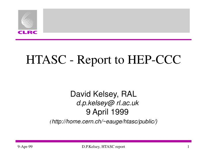 Htasc report to hep ccc