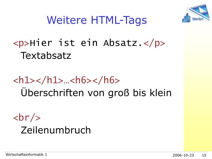 Weitere HTML-Tags