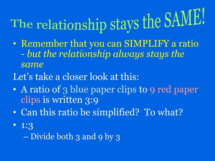 The relationship stays the SAME!