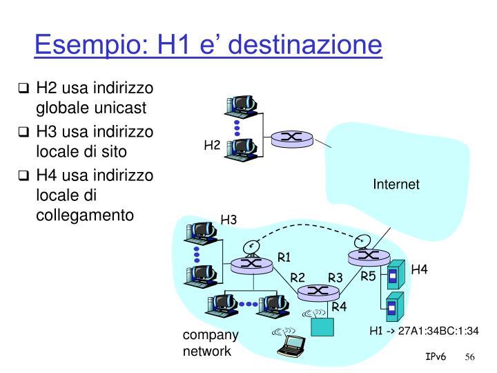 Esempio: H1 e' destinazione