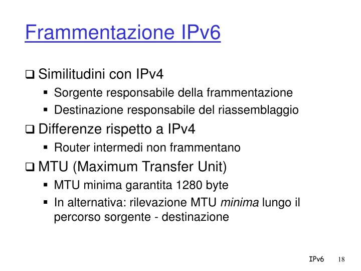 Frammentazione IPv6