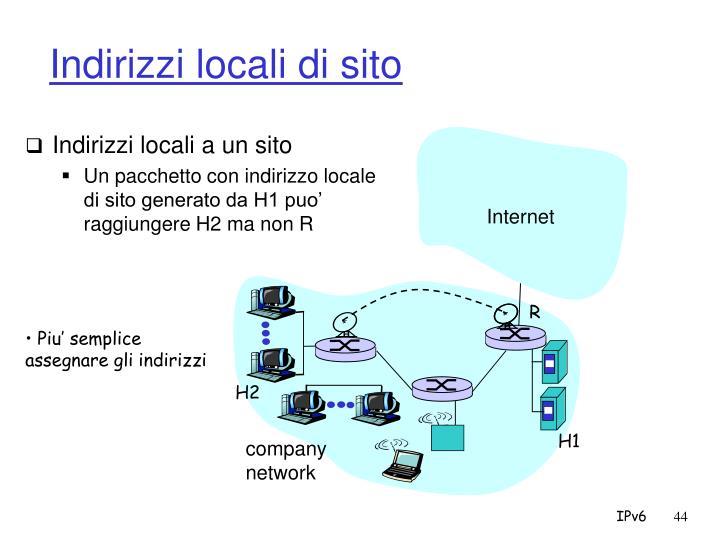 Indirizzi locali di sito
