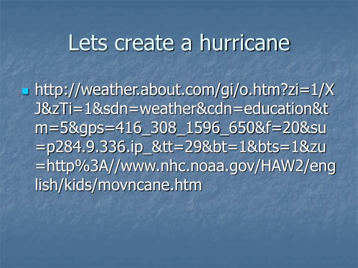 Lets create a hurricane