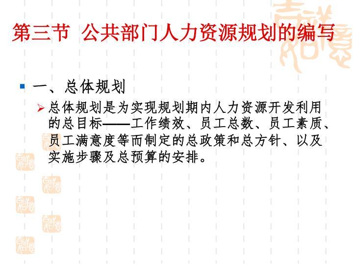 第三节 公共部门人力资源规划的编写