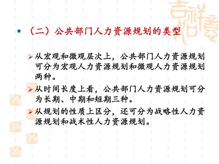 (二)公共部门人力资源规划的类型
