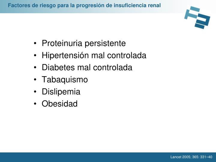 Factores de riesgo para la progresión de insuficiencia renal