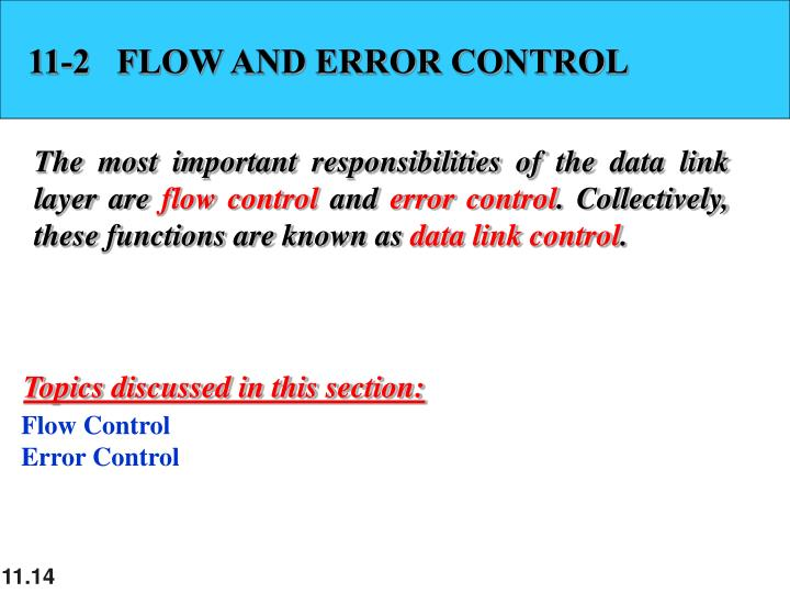 11-2   FLOW AND ERROR CONTROL