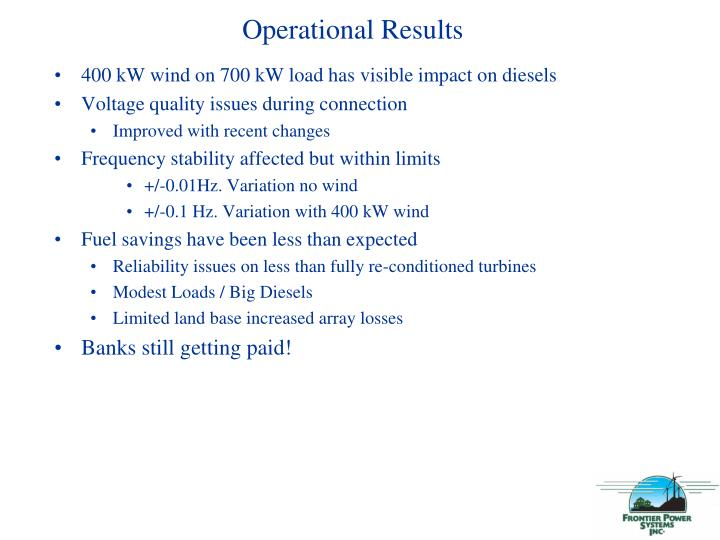Operational Results