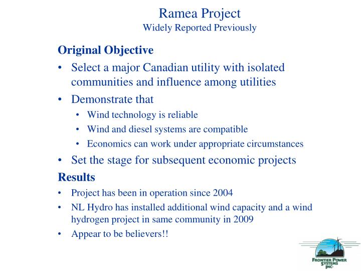 Ramea project widely reported previously