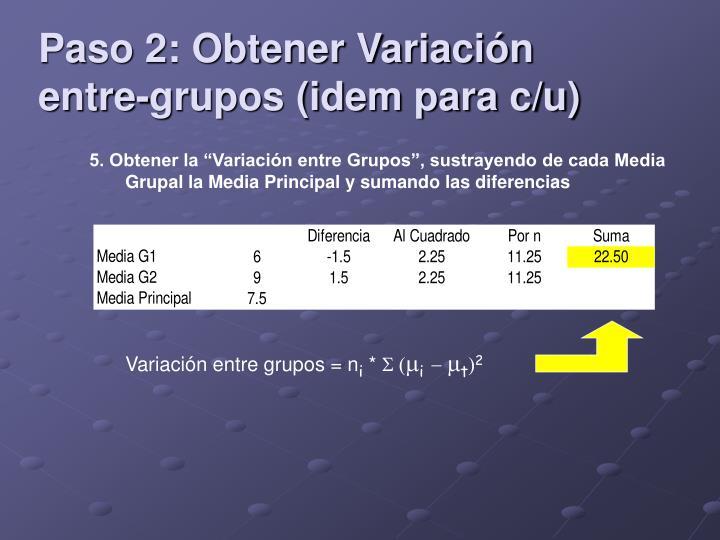 Paso 2: Obtener Variación entre-grupos (idem para c/u)