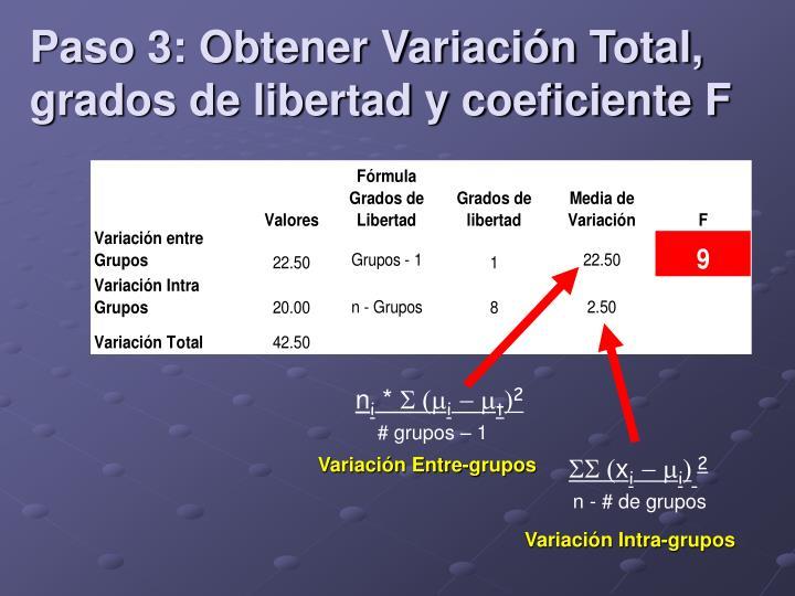 Paso 3: Obtener Variación Total, grados de libertad y coeficiente F