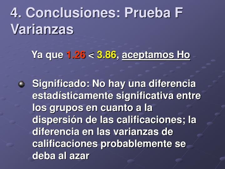 4. Conclusiones: Prueba F Varianzas