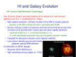 hi and galaxy evolution