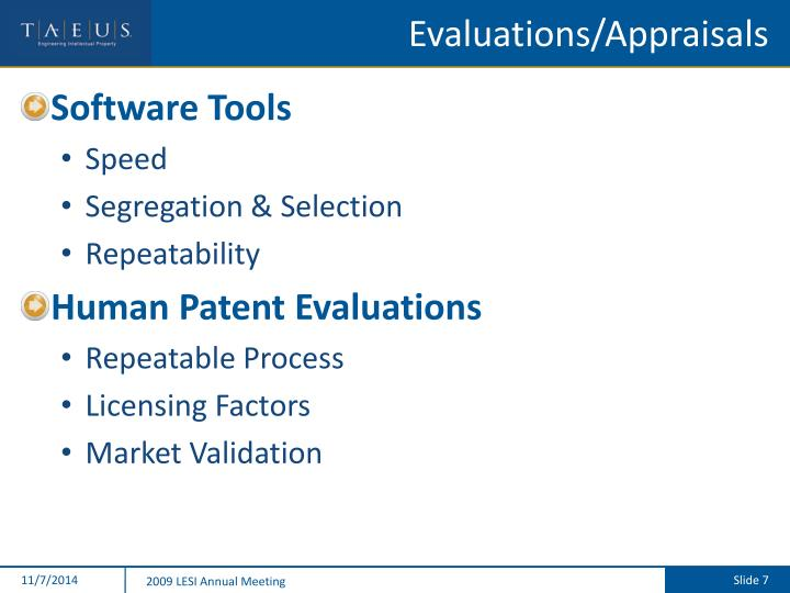 Evaluations/Appraisals
