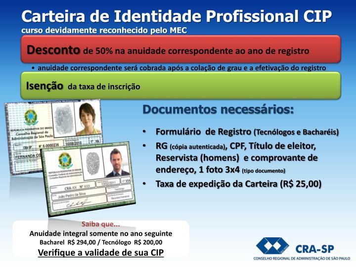 Carteira de Identidade Profissional