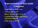 representation of data inside computer
