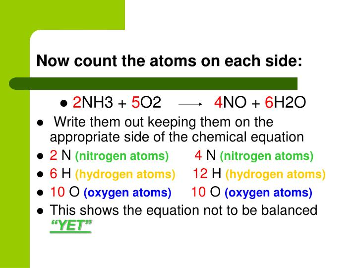 Now count the atoms on each side: