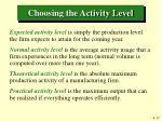 choosing the activity level