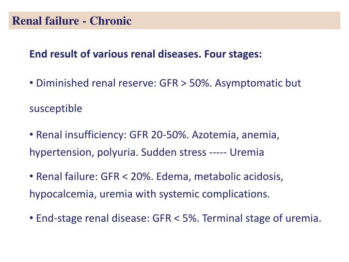 Renal failure - Chronic