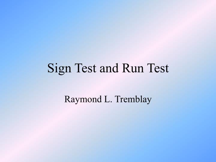 sign test and run test n.