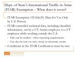 dept of state s international traffic in arms itar exemption what does it cover