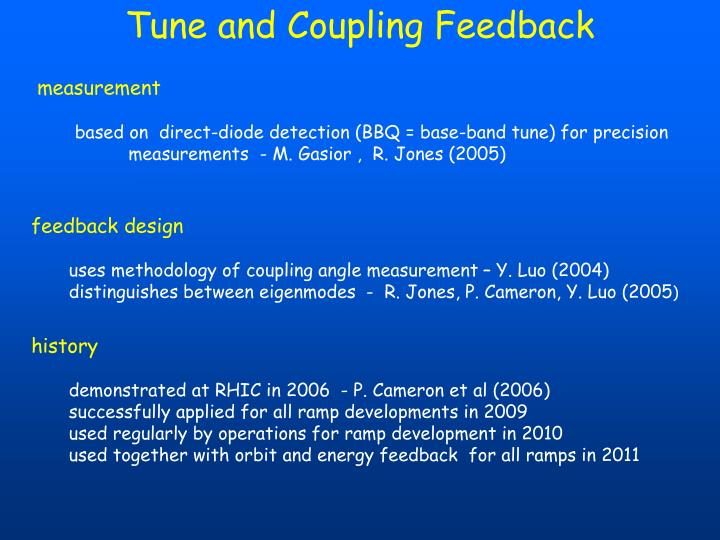 Tune and Coupling Feedback