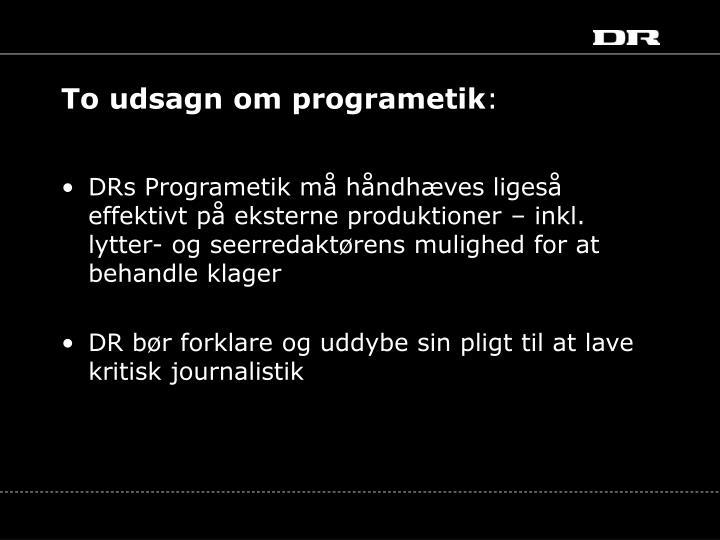 To udsagn om programetik