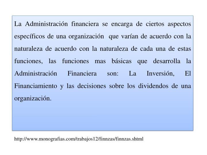 La Administración financiera se