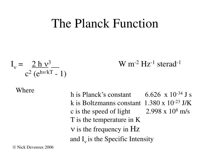 The Planck Function