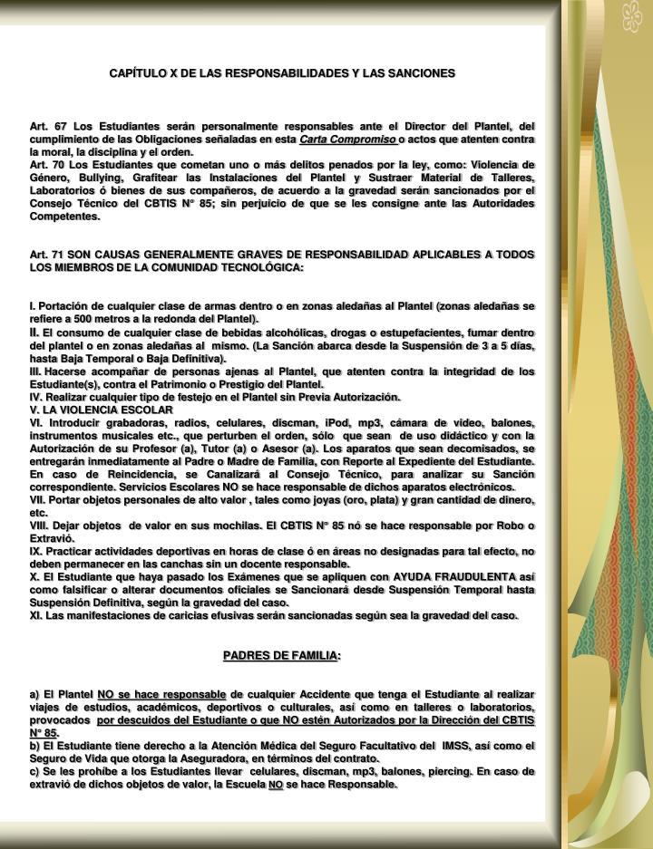 CAPÍTULO X DE LAS RESPONSABILIDADES Y LAS SANCIONES