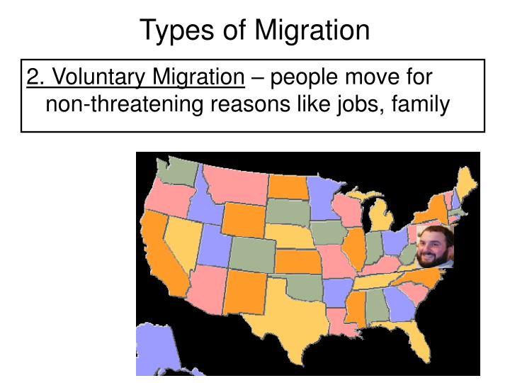 causes of voluntary migration Which factor most often causes voluntary migration a economic b environmental c international d political e a regional conflict 2 brain drain is a the large-scale emigration of talented people b the process by which people are given reference for migration c.