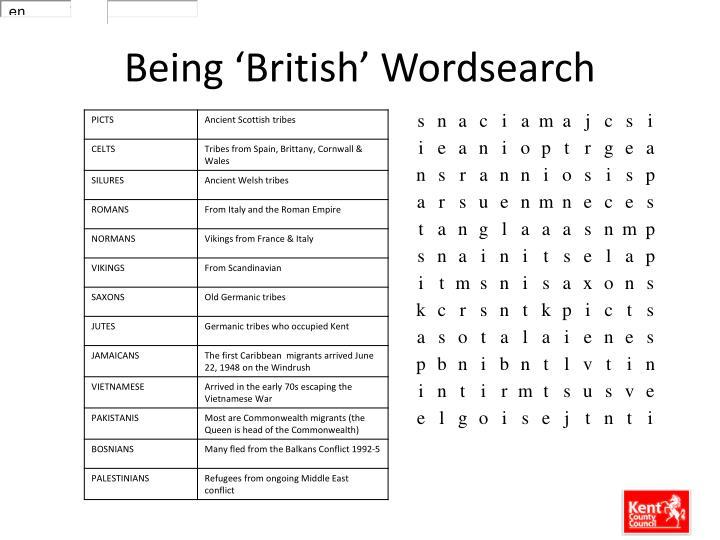 Being 'British' Wordsearch