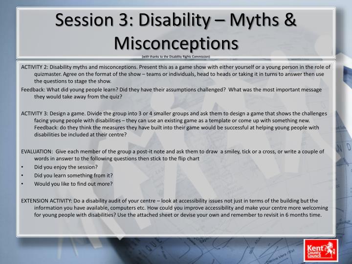 Session 3: Disability – Myths & Misconceptions