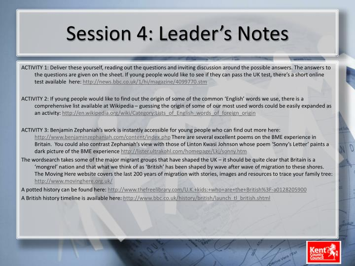 Session 4: Leader's Notes