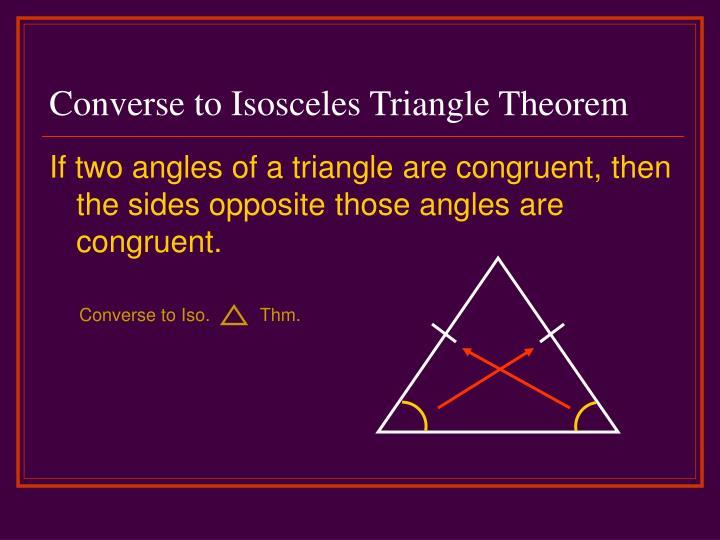 Converse to Isosceles Triangle Theorem