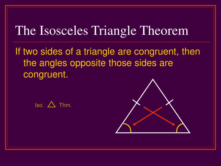 The Isosceles Triangle Theorem