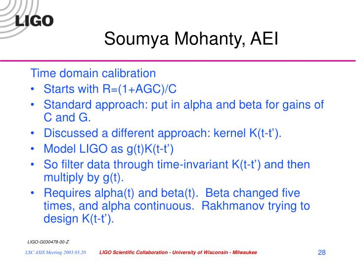 Soumya Mohanty, AEI