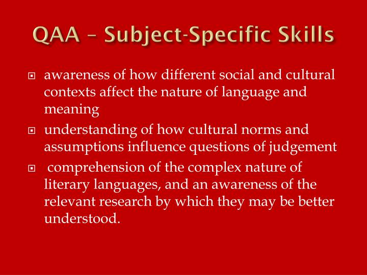 QAA – Subject-Specific Skills