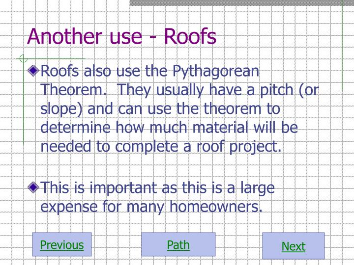 Another use - Roofs
